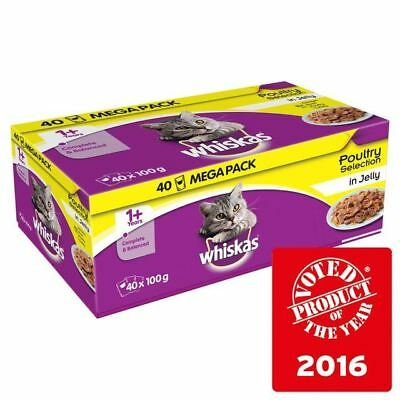 Whiskas 1+ Cat Pouches Poultry in Jelly 40 x 100g
