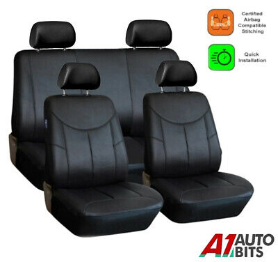 Universal Black Heavy Duty Leather Look Car Seat Covers Set Air Bag Friendly New