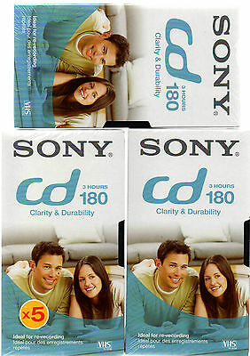 3 x Sony CD180 3 Hour Blank VHS Video Tape - New & sealed