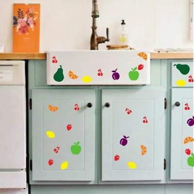 50 Mixed Fruit Vinyl Sticker Kitchen Fridge Wall Window Car Decoration 1:1 Scale