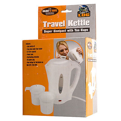 0.4 Litre Electric Travel Kettle With 2 Tea Cups Dual Voltage Compact Portable