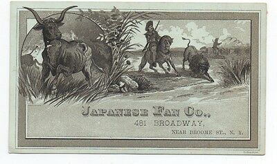 1890s Trade Card from the Japanese Fan Co New York with Cowboy & Buffalo Scene