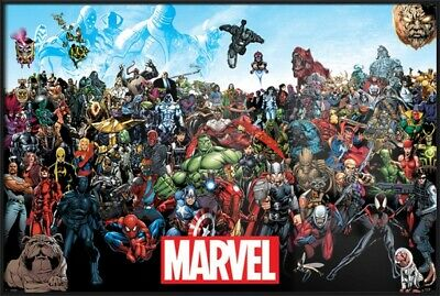 The Marvel Comics Universe - Framed Comic Poster / Print (All Characters)