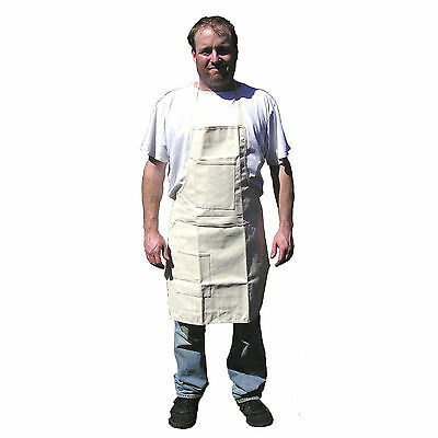 HAWK AC018 - Solid Off White Cloth Apron  Shop Kitchen One Size Fits Most _