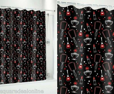 67011 Vintage Beauty Black Shower Curtain Sourpuss Retro Rockabilly Girly Punk