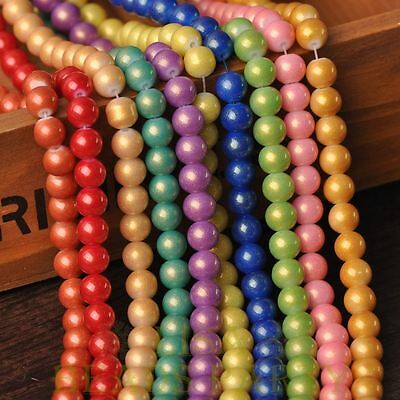 New 72pcs 8mm Bronzing Varnish Round Loose Spacer Glass Beads Mixed Color