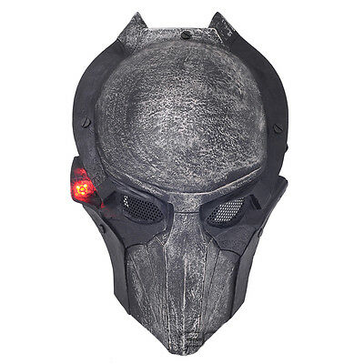 Full Face Wire Mesh Protection AVP Predator Airsoft Mask Cosplay With LED M800