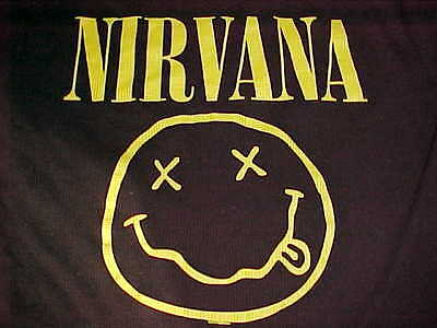 Nirvana Smiling Face Pullover Crew Neck Long Sleeve Black Thermal Shirt XL
