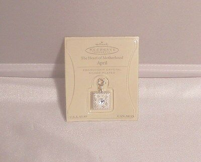 Hallmark Heart Of Motherhood April Birthday Charm Swarovsk Crystal Silver Plate
