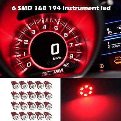 20x Red T10 Wedge 158 161 194 W5W Bulb LED Dome Instrument Car Light Bulb Lamp