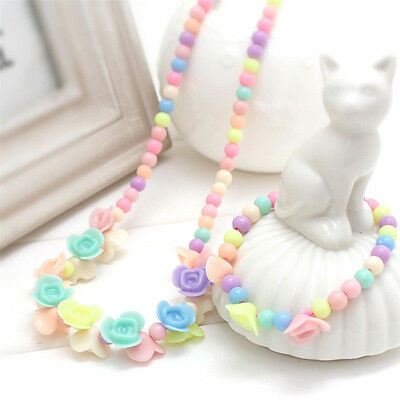 Colorful Girls Princess Beads Necklace Kids Bracelet Set Toddlers Jewelry Gift