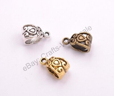 20-100Pcs Tibetan Silver/Gold Charm Pendant Bail Connector Beads 5MM Hole CA3030