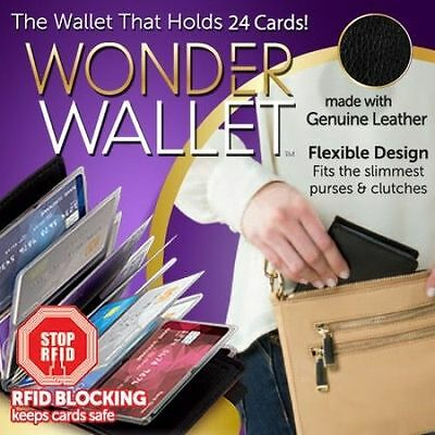 Original Wonder Wallet - Amazing Slim RFID Wallets As Seen on TV Black Leather
