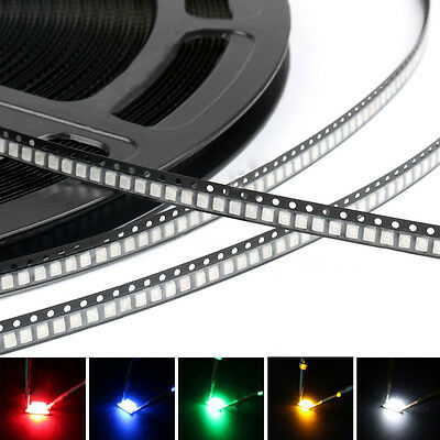 100x 3528 SMD SMT LED Red Green Blue Yellow White Light Diodes Emitting 7 Colors