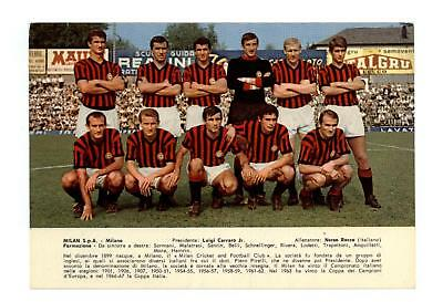 calcio football Cartolina Milan Anni'60 con hamrin,sormani, rivera