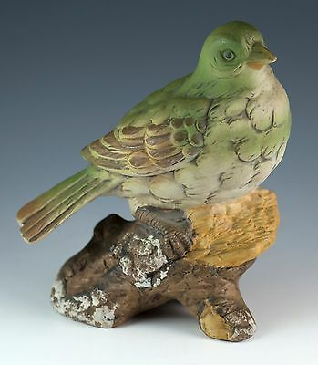 Vintage Porcelain Bisque Green Bird Figurine 5 Inches High UCCI Japan
