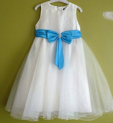 Girls Bridesmaid Wedding Sparkly Bow Tulle Party Dress 2-5 Years BNWT Ivory