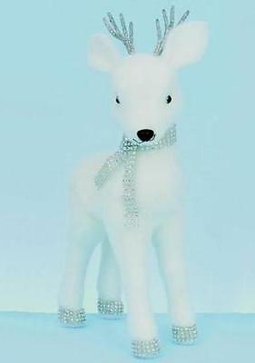 Premier Standing Baby Reindeer with Diamante Scarf 'White' 45cm Christmas Figure