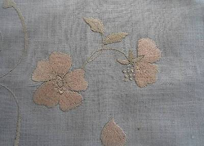 Vintage Linen Society Silk Embroidered Table Runner Hand Embroidered Pink