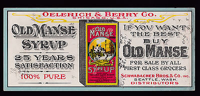 """c1920 Old Manse Syrup brand Oelerich & Berry advertising Chicago 4""""x9"""""""