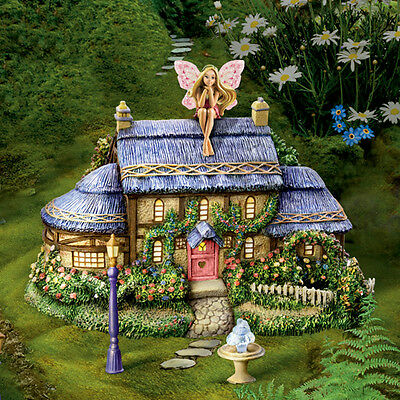 Morning Dew Cottage and Fairy Figurine - Thomas Kinkade Garden Fairy Village