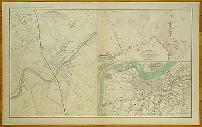 Authentic Civil War Map~Defenses Of Mundfordville, Camp Nelson & Louisville, Ky.
