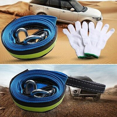 5M Heavy Duty Garage 8 Tons Car Towing Pull Rope Strap Tow Cable+Hooks Emergency