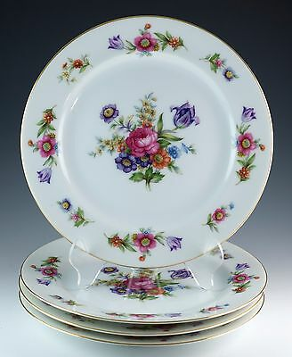 """Vintage Set of 4 Sango Dresdenia Floral 7.5"""" Plates Made In Occupied Japan"""