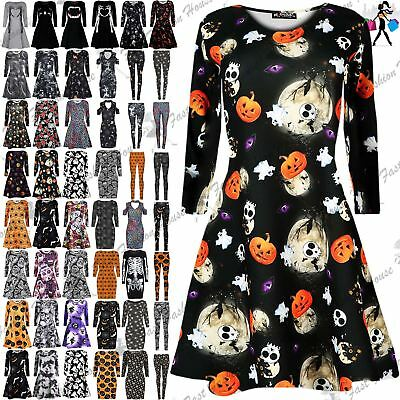 Womens Ladies Halloween Costume Skull Smock Web Spider Flared Mini Swing Dress