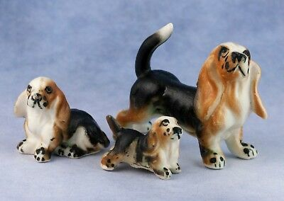 Vintage Miniature Set of 3 Bone China Basset Hound Family Dog Figurines Japan
