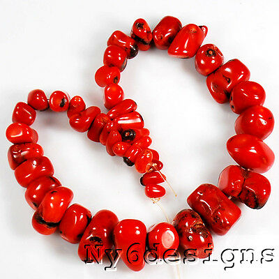 "5x9mm-14x28mm Red Coral  Graduated Nugget Beads 15"" (CO17)e"