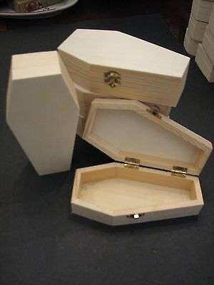 "Lot of 5,  6"" Halloween Hinged Unfinished Wood Coffin Casket"