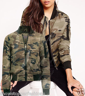3618b2457 NEW Womens MA1 Classic Padded Bomber Jacket Ladies Vintage Zip Size ...