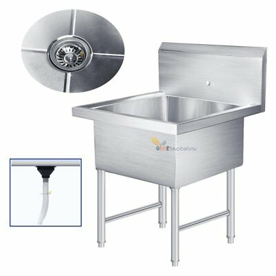 "Heavy Duty Commercial Stainless Steel Restaurant Kitchen Utility Sink 30"" Wide"