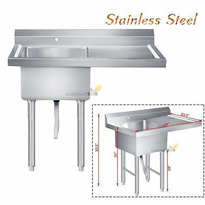 """Commercial Stainless Restaurant Kitchen Utility Sink with Drainboard 39"""" Wide"""