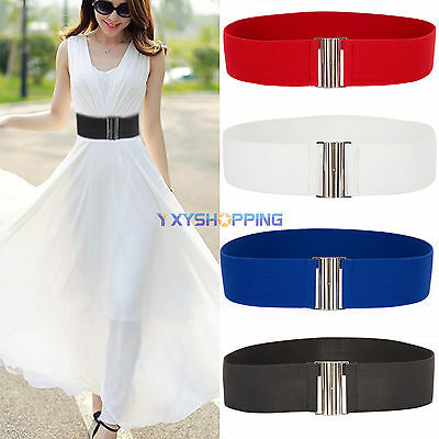 New Womens Ladies Silver Metal Cinch Buckle Belt Wide Stretch Elastic Waist Band