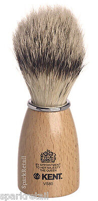 Kent Natural Beechwood Pure Boar Bristle Badger Effect Small SHAVING BRUSH VS80