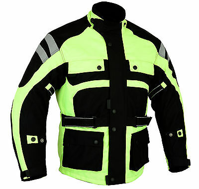 New Cyclone HI VIZ Waterproof CE Armoured Motorcycle Textile Jacket All sizes