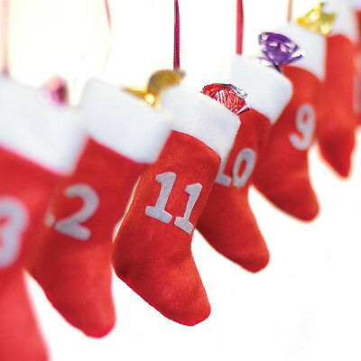 Christmas Stocking Advent Calendar 24 Numbered Felt Gift Bags & Hanging Ribbon