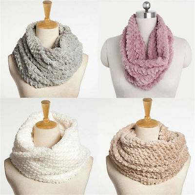 Women Lady Winter Warm Infinity 2 Circle Cable Cowl Neck Faux Fur Scarf Shawl