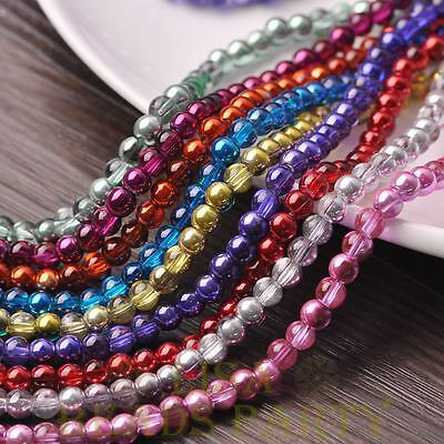 100pcs 6mm Round Glass Loose Spacer Beads Jewelry Making Mixed Color