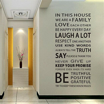 Removable Family Rules Words Vinyl Decal Art Mural Home Decor Quote Wall Sticker