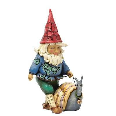 Jim Shore Heartwood Creek Make New Friends Gnome with Snail Figurine New 4037669