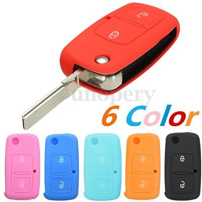 2 Button Silicone Flip Remote Key Case Fob Cover for VW Bora Touran Cady 6 color