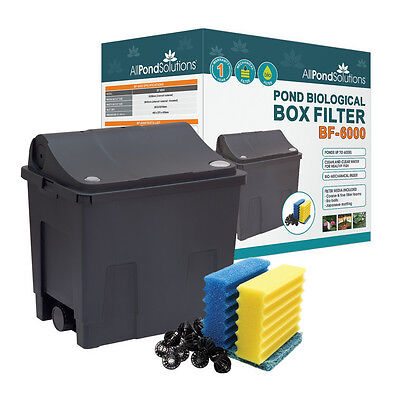 Small Fish Pond Water Filter Box - Koi Goldfish Pond Filter - Ponds up to 6000L