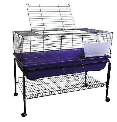 Large purple rabbit cage with stand kit indoor hutch cages for Guinea pig stand
