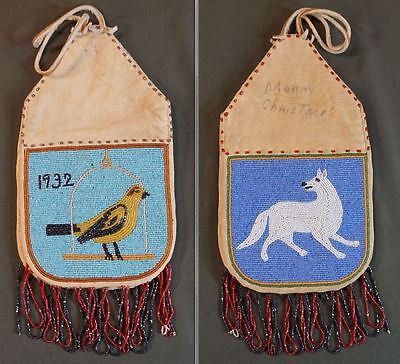 Fine Native American Plains 2 Sided Beaded Medicine Bag Bird & White Wolf 1932