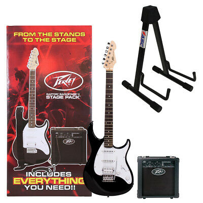 Peavey Raptor + Plus Stage Pack Black 6 String Electric Guitar Bag Amp & Stand
