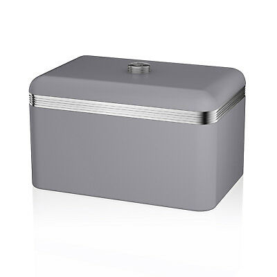 Swan Grey Retro Bread Loaf Home Kitchen Storage Bin Container Box Food Canister