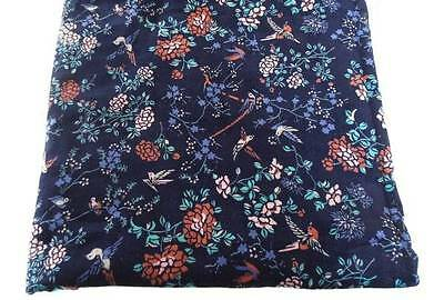 Vintage Navy Blue Velvet Upholstery Fabric Red Birds Peonies 2 Yards